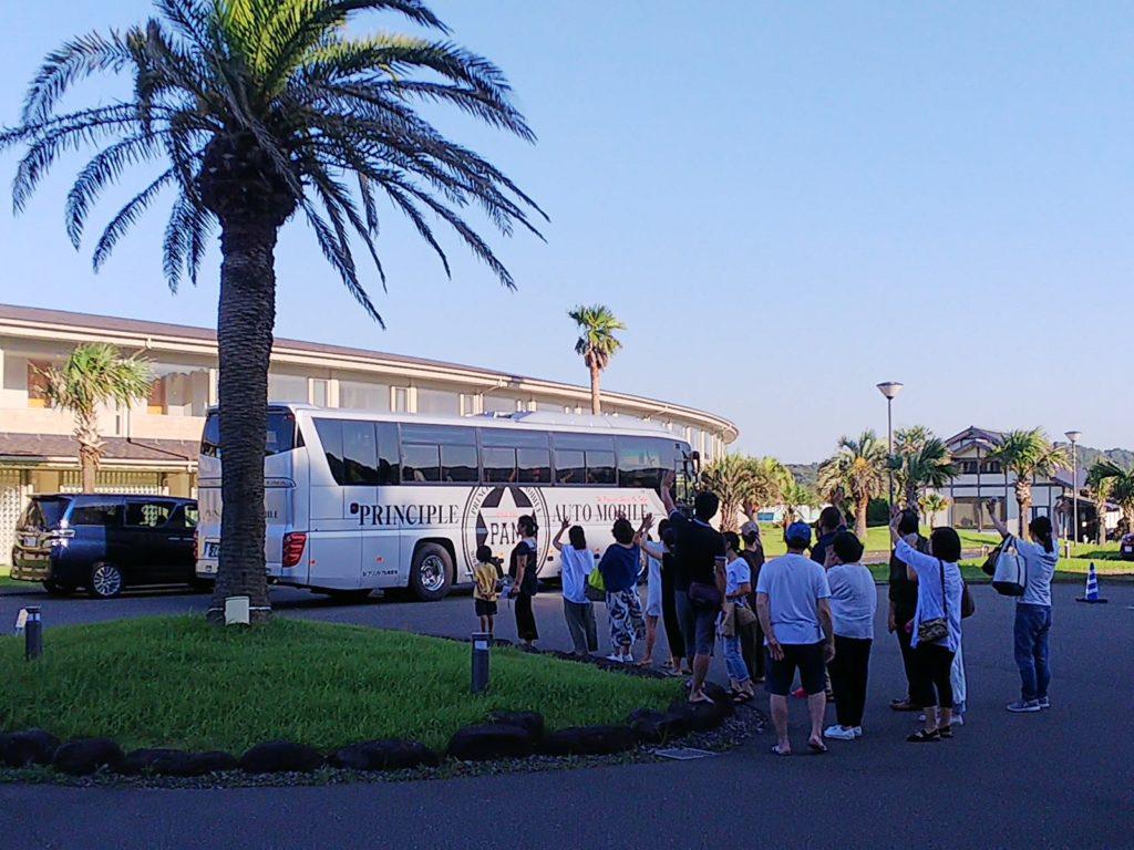 合宿バス出発