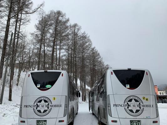 大型バスでスキー合宿